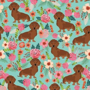 dachshund red fabric florals dog design - mint