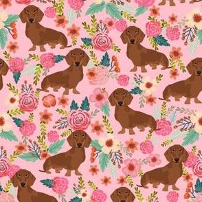 dachshund red fabric florals dog design - pink