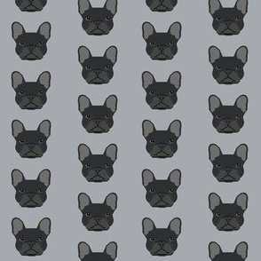french bulldog black head frenchie dog fabric - grey