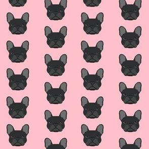 french bulldog black head frenchie dog fabric - pink