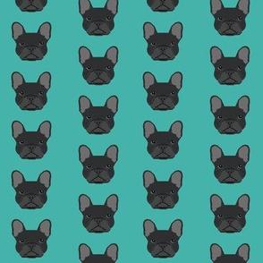 french bulldog black head frenchie dog fabric - turquoise