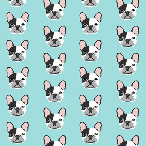 french bulldog black and white head frenchie dog fabric - lite blue fabric by petfriendly on Spoonflower - custom fabric