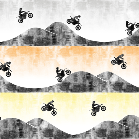 (small scale) motocross/ dirt bike  || multi orange/yellow fabric by littlearrowdesign on Spoonflower - custom fabric