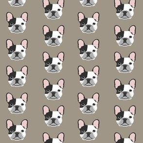 french bulldog black and white head frenchie dog fabric - brown