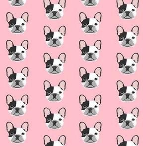 french bulldog black and white head frenchie dog fabric - pink