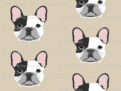 french bulldog black and white head frenchie dog fabric - sand