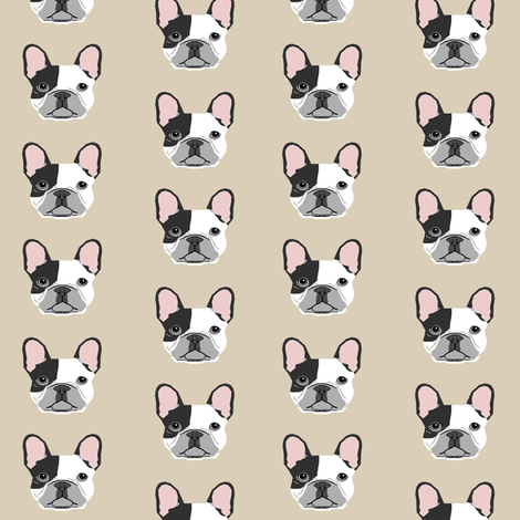 french bulldog black and white head frenchie dog fabric - sand fabric by petfriendly on Spoonflower - custom fabric