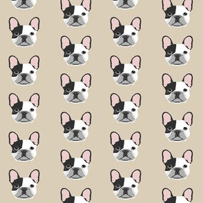 french bulldog black and white head frenchie dog fabric - sand