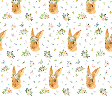 "7"" Spring Time Bunny - More Florals fabric by shopcabin on Spoonflower - custom fabric"