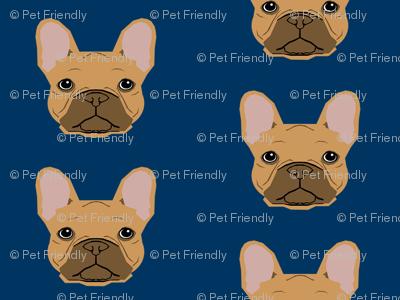 french bulldog fawn head frenchie dog fabric - navy