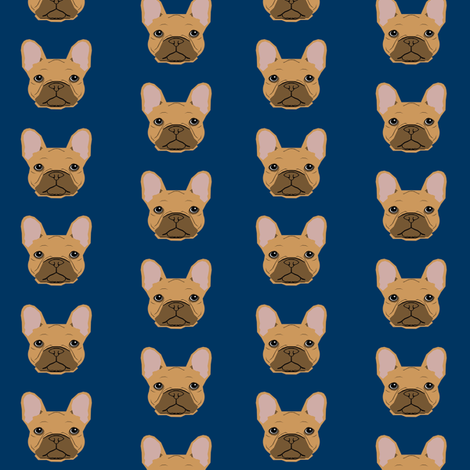french bulldog fawn head frenchie dog fabric - navy fabric by petfriendly on Spoonflower - custom fabric
