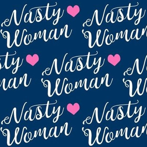 nasty woman fabric girls girl power feminist design - navy
