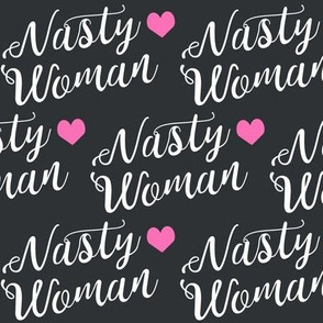 nasty woman fabric girls girl power feminist design - charcoal