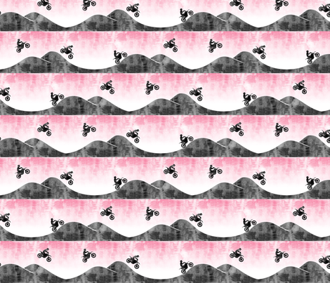 (small scale) motocross / dirt bike  || pink  fabric by littlearrowdesign on Spoonflower - custom fabric
