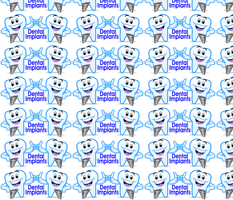Dental Implants Happy Teeth Thumbs Up fabric by lorlajo on Spoonflower - custom fabric