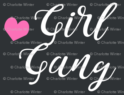 girl gang charcoal and pink heart fabric girls girl power design