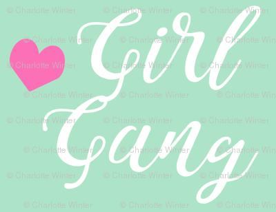 girl gang mint and pink heart fabric girls girl power design