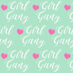 girl gang mint and pink heart fabric girls girl power design