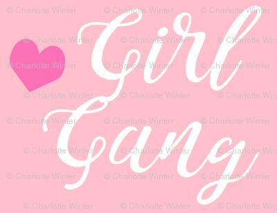 girl gang pink and pink heart fabric girls girl power design