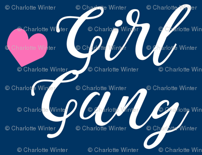 girl gang navy and pink heart fabric girls girl power design