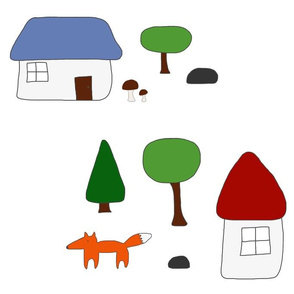 Woodland Escape with Houses, Mushrooms, and Fox, White Windows