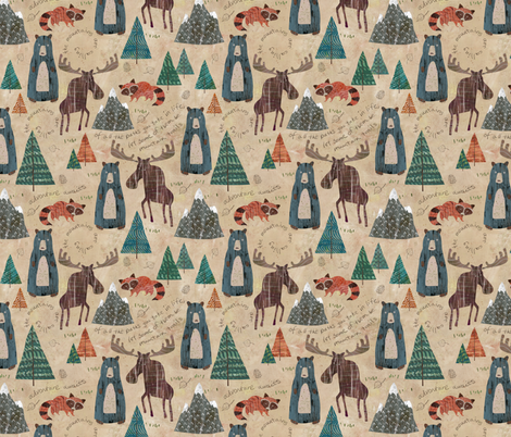 Mountain Animals fabric by sarah_treu on Spoonflower - custom fabric