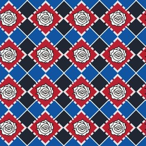 White Rose Argyle in French Blue
