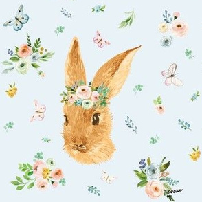 "7"" Spring Time Bunny - More Florals - Blue"