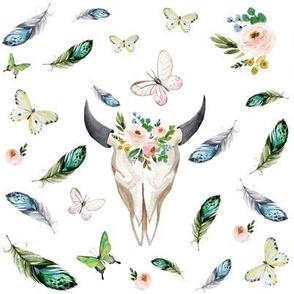 """8"""" Gypsy Soul Skull Floral"""