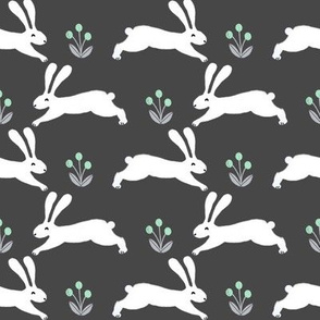 rabbit // spring mint rabbits nursery baby design spring floral easter rabbit design