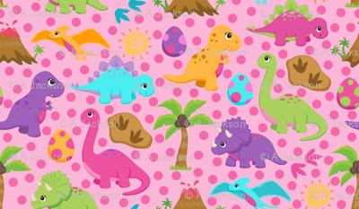Girly Dinosaurs fabric - jaxie22 - Spoonflower