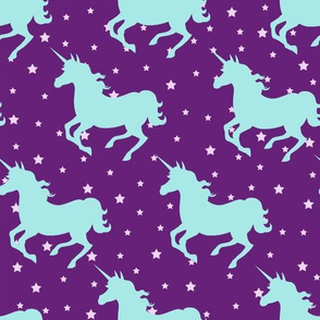 Unicorns on Purple