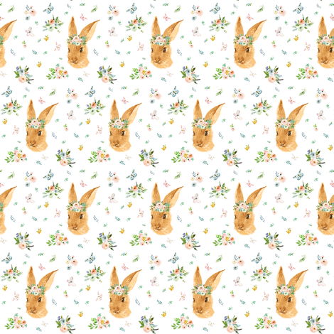 """2"""" Spring Time Bunny - More Florals fabric by shopcabin on Spoonflower - custom fabric"""