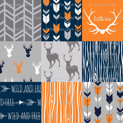 Patchwork Deer in orange,navy, grey- Wholecloth cheater quilt - baby boy nursery - broncos