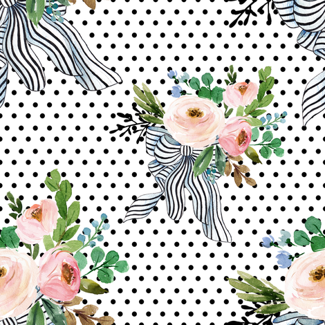 """8"""" Spring Bouquet with Stripes - Black Polka Dots fabric by shopcabin on Spoonflower - custom fabric"""