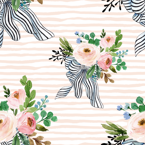 """8"""" Spring Bouquet with Stripes - Pink  fabric by shopcabin on Spoonflower - custom fabric"""