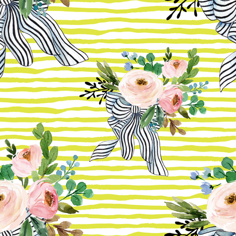 "8"" Spring Bouquet with Stripes - Lime fabric by shopcabin on Spoonflower - custom fabric"