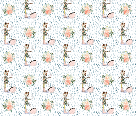 "6"" Spring Friends Rainfall - Same Direction / More Space in Between fabric by shopcabin on Spoonflower - custom fabric"