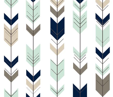 Fletching arrow  // navy,mint,brown fabric by littlearrowdesign on Spoonflower - custom fabric