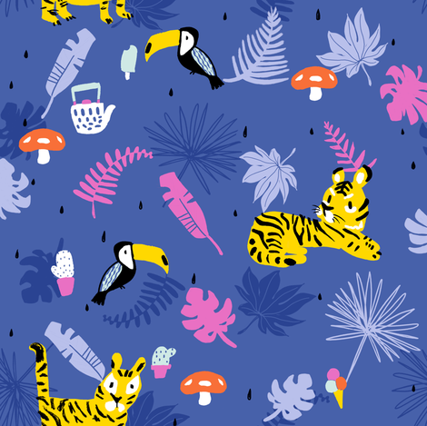 Tropical tiger and toucan fabric by canigrin on Spoonflower - custom fabric