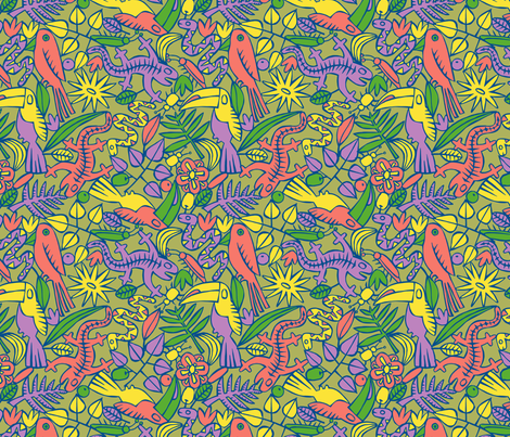 Jungle Beasts fabric by seesawboomerang on Spoonflower - custom fabric