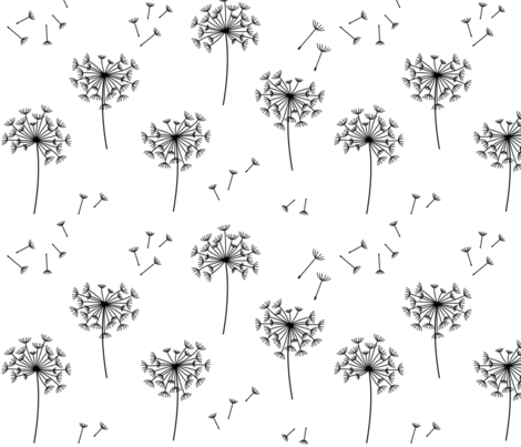 black blowing dandelions for mom fabric by misstiina on Spoonflower - custom fabric