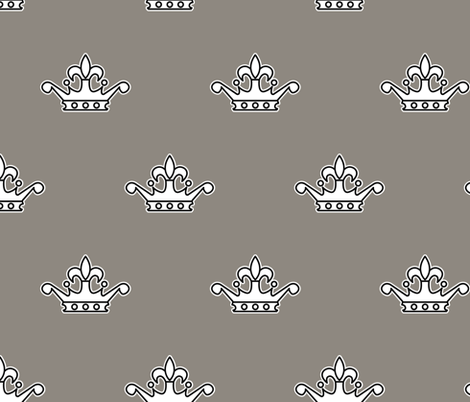 Royal Bumble Bee Crown in Gray and White fabric by rose_mary on Spoonflower - custom fabric