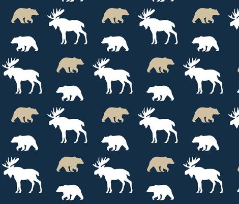 Moose & Bears // on Navy fabric by buckwoodsdesignco on Spoonflower - custom fabric