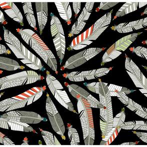 native feathers black tea towel