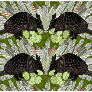 native armadillos green tea towel