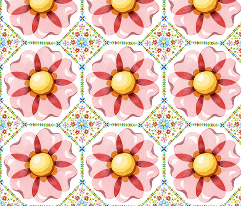 Pink Daisy Boho  fabric by patriciasheadesigns on Spoonflower - custom fabric