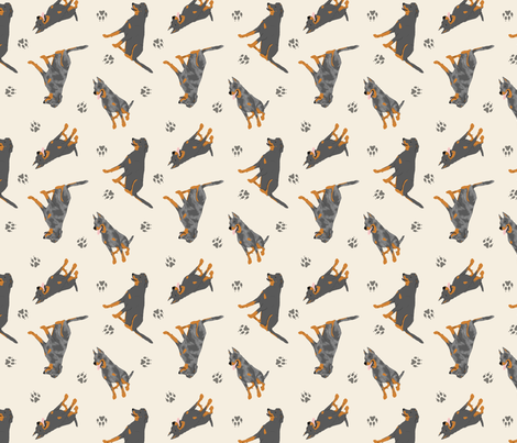 Tiny Beaucerons - tan fabric by rusticcorgi on Spoonflower - custom fabric