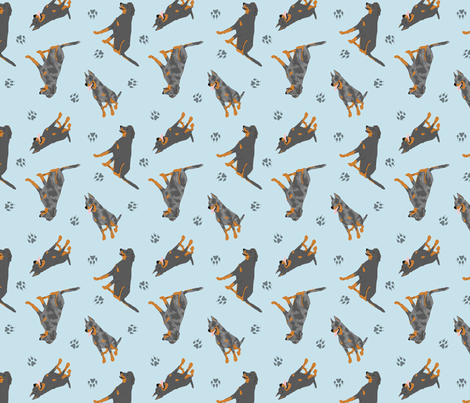 Tiny Beaucerons - blue fabric by rusticcorgi on Spoonflower - custom fabric