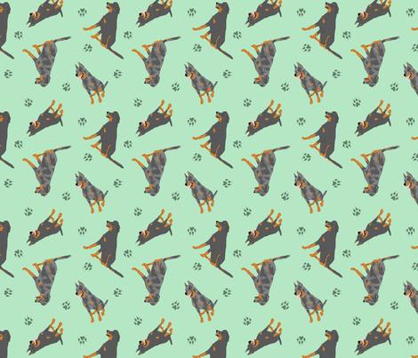 Tiny Beaucerons - green fabric by rusticcorgi on Spoonflower - custom fabric